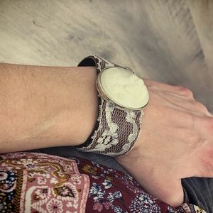 Wine White Lace Cameo Lady Upcycled Leather Cuff